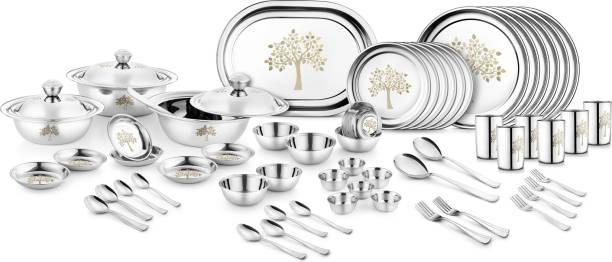 Jensons Pack of 68 Stainless Steel Kalpataru 68 Pcs Stainless Steel Heavy Dinner Set Dinner Set