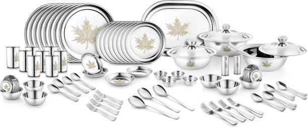 Jensons Pack of 91 Stainless Steel Maple Leaf 91 Pcs Dinner Set-LASER Dinner Set
