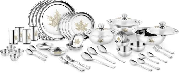 Jensons Pack of 46 Stainless Steel Maple Leaf 46 Pcs Stainless Steel Heavy Dinner Set Dinner Set
