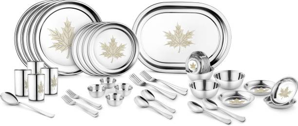 Jensons Pack of 42 Stainless Steel Maple Leaf 42 Pcs Heavy Stainless Steel Dinner Set Dinner Set