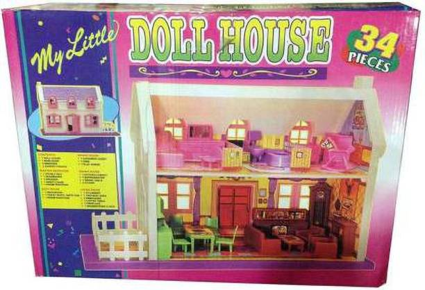 Tenmar 34 pieces Complete Doll House / Doll House Play Set (Multicolor) (Multicolor)