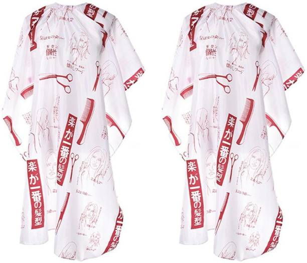 Angel Infinite Printed Hair Cutting Apron Cape For Saloon, Waterproof Shampoo Hair Cutting Cloth Apron Cape For Men And Women (White, Set Of 2) Makeup Apron