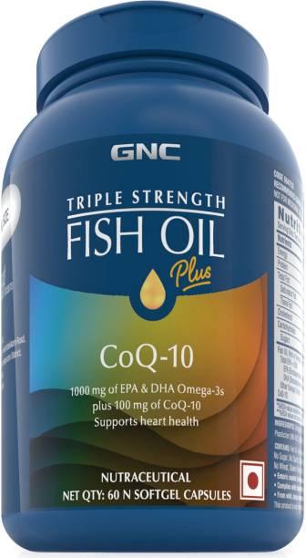 GNC Triple Strength Fish Oil + CoQ10 1000 mg of EPA/DHA Omega 3s, 100 mg of CoQ10