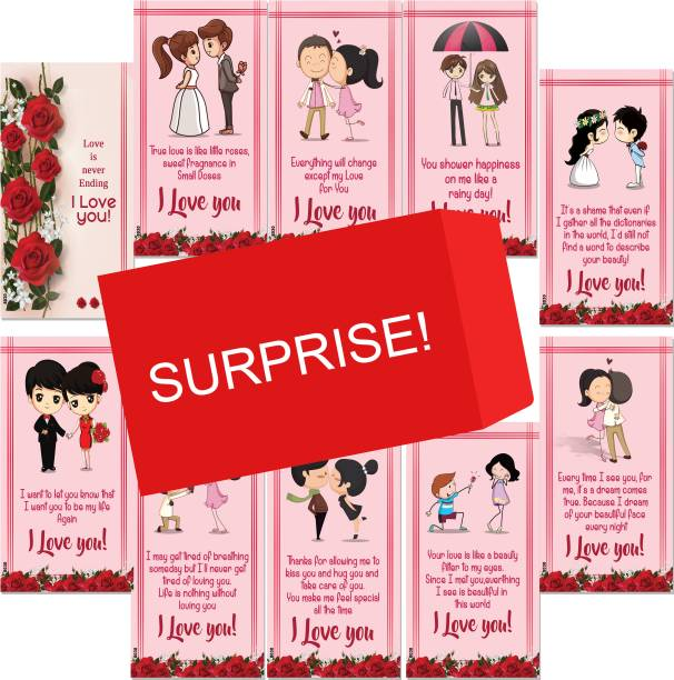 ODDCLICK Set Of 10 I Love You Love Is Never Ending Surprise Greeting Cards For Girlfriend-BoyFriend Greeting Card