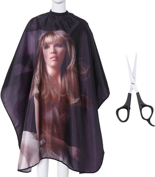 Angel Infinite Combo Of Hair Cutting Apron Cape(Multicolor) and Scissors (Silver) Set Of 2
