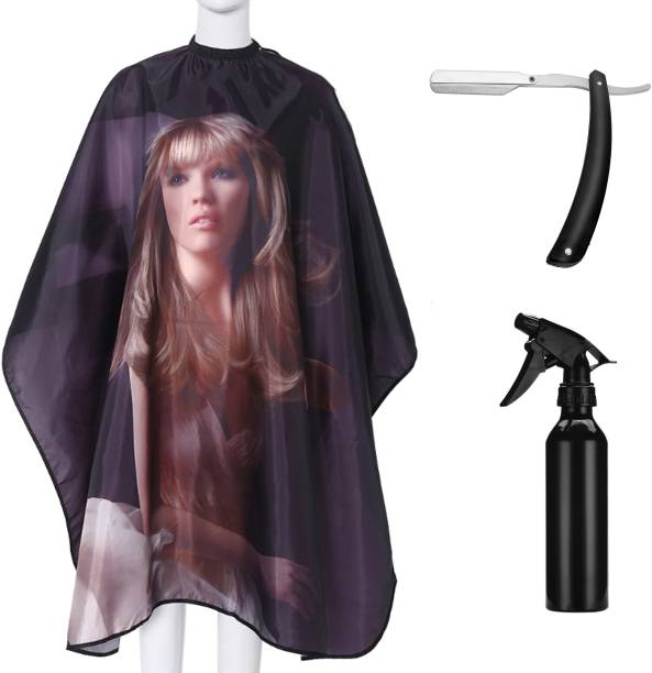 Angel Infinite Combo Of Hair Cutting Apron Cape(Multicolor), Straight Razor(Black), and Spray Bottle (Black) Set Of 3