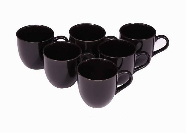 Onisha Pack of 6 Bone China Pack of Bone China (pack of 6) tea and coffee cup set 120 ml (Black)