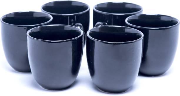 Designo Prints Pack of 6 Ceramic Plain black cup set