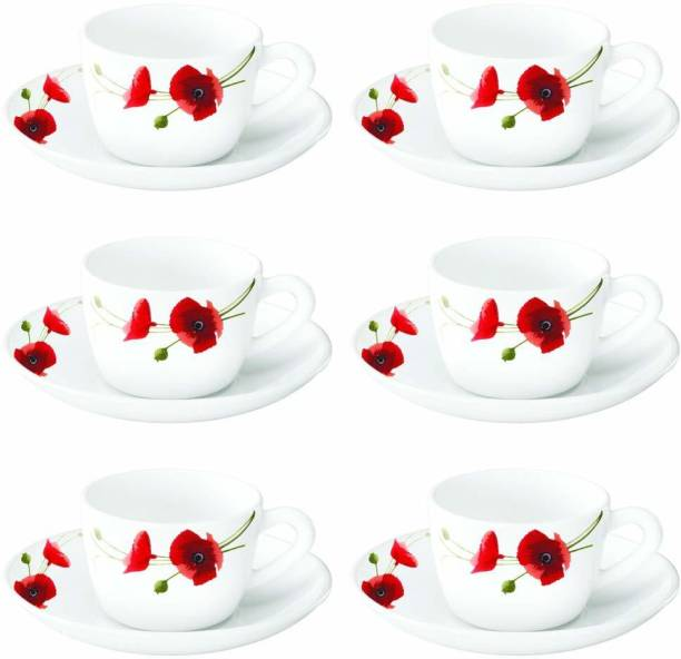 BOROSIL Pack of 12 Opalware Borosil Red Carnation {Cup 140ml (6 pcs)    Saucer 135mm (6 pcs)} (Red, White)