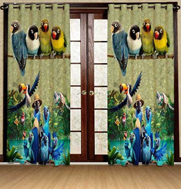 LeafEagle 215 cm (7 ft) Polyester Door Curtain Single Curtain