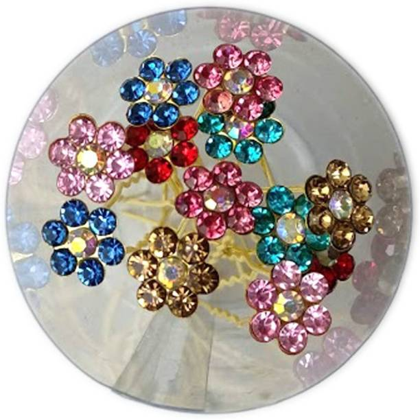 GadinFashion Set of 12 Hair Accessories stone Multicolor Juda Pins For Bun Decoration For Women And Girls Back Pin