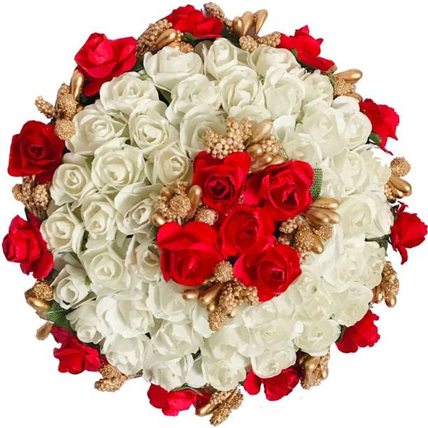 AROOMAN ™ New Artificial flower Full Juda Bun Hair Flower Gajra for Wedding and Parties Use for Women (Red & White Color Pack of 1) Hair Accessory Set