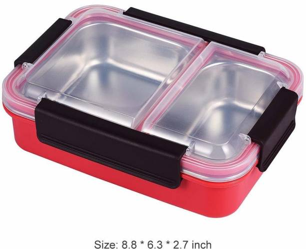 Pranshu Enterprise Bento Box 2 Compartments Stainless Steel Lunch Box for Adults and Kids, Portion Control Lunch Containers leak proof, BPA Free, Stainless Steel Lunch Box Insulated 2 Food Compartment for School or Office, Stainless Steel BPA-free Removable in 2 Compartments , Leak proof Portion Control Bento Boxes for Adults, Kids, School, Office 2 Containers Lunch Box