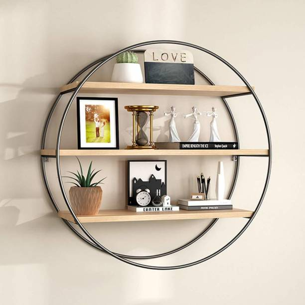 Artesia Wall Shelf - Style Living Room Wall Hanging, Iron Shelf, Solid Wood Shelves Partition Wall Round Floating Display Stand Bookcase Flower Stand Iron, Wooden Wall Shelf