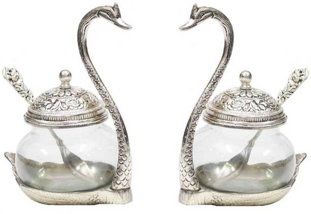 KridayKraft Metal Kissing Duck Transparent Glass Bowl with Spoon Set of 2 pcs for Saunf Supari Tray,Dry Fruit and Candy for Home & Offce Table Decoration Animal Showpiece Serving Bowl... Bowl Serving Set