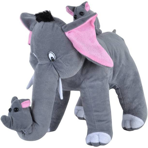 STUFY 40 Cm Mother Elephant with Cute Babys  - 36 cm