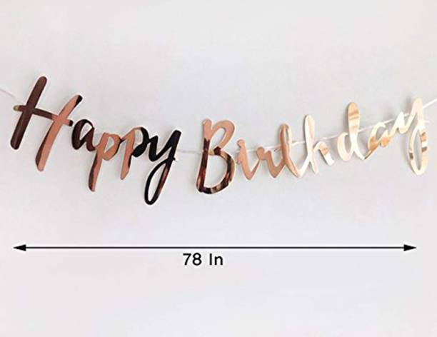 Juneja Enterprises Happy Birthday ( Rose Gold ) Banner