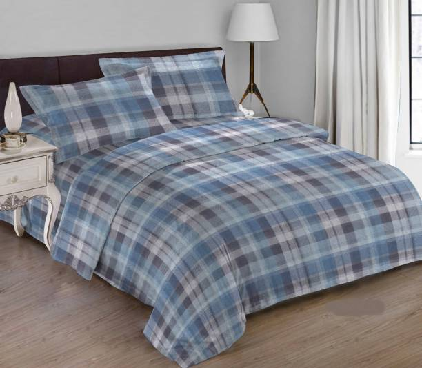 Bombay Dyeing 180 TC Cotton Double King Checkered Bedsheet