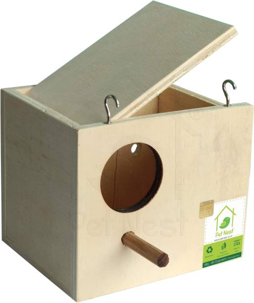 PetNest Mini Budgie , Breeding Box and Nest with Perch for Budgerigars, Lovebird, Finch and Canary Bird Bird House