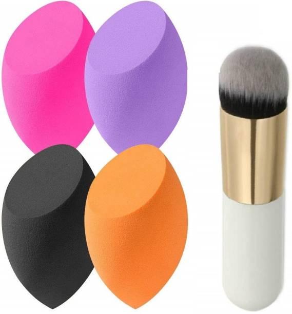 SKINPLUS BLUSH BRUSH (FOUNDATION ) WITH 4 Blending Sponge for Dry or Wet Use, Multi-Colored