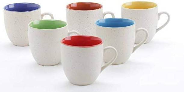 The Earth Store Pack of 6 Ceramic Matt Finish Elegant Design Plain Sparkling Ceramic Tea, Coffee Mug for Office and Home, 300 ml, White -Set of 6 Pieces