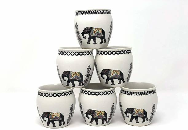 The Earth Store Pack of 6 Ceramic Re-Useable Ceramic Kullad for Hot & Cold Beverages - Set of 6