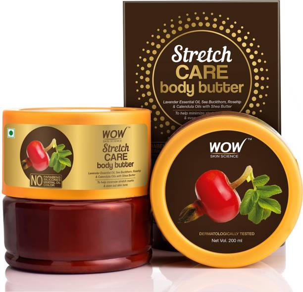WOW SKIN SCIENCE Stretch Care Body Butter-with Lavender Essential Oil, Rosehip & Calendula Oils, No Parabens, Silicones, Mineral Oil & Color - 200mL