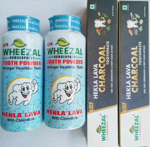 WHEEZAL COMBO(PACK OF 2 HEKLA LAVA POWDER & TOOTHPASTE) Toothpaste
