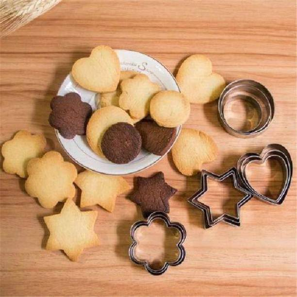 batwada export ie Cutters Shapes Baking Set: 12PCS Flower,Round,Heart,Star Shape Biscuit Baking Stainless Steel Metal Molds | Shape Cutters for Kitchen,Baking,Halloween & Christmas Small Size Cookie Cutters Cookie Cutter