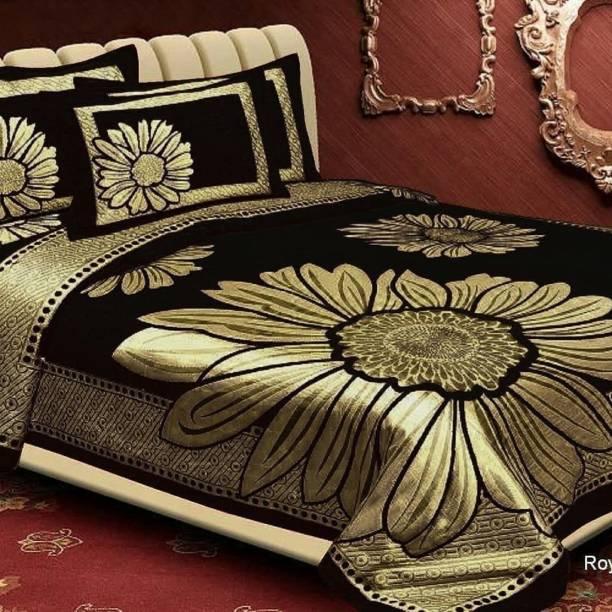 RS Enterprises 210 TC Velvet King Floral Bedsheet
