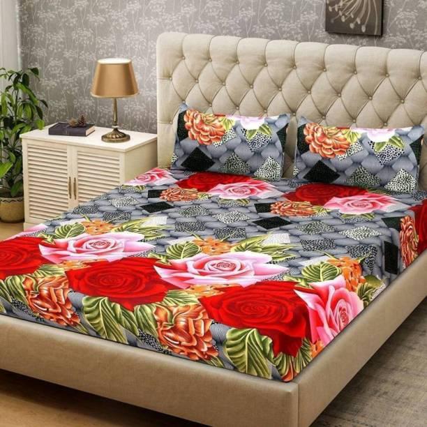 yatin fab 180 TC Cotton Double 3D Printed Bedsheet