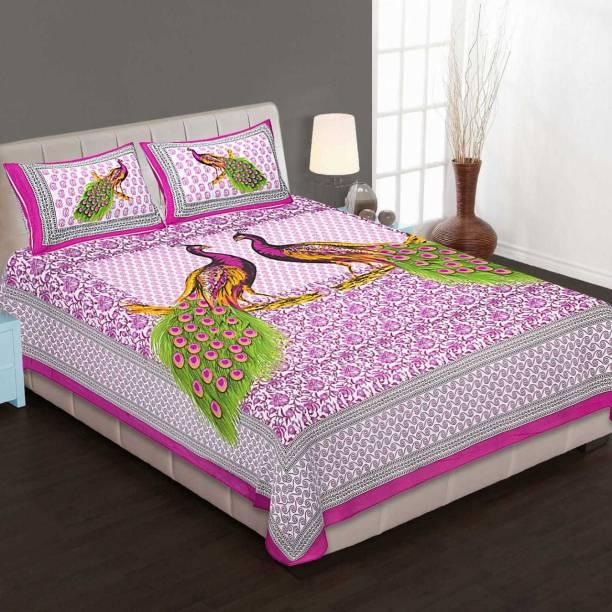 Monika collection 130 TC Cotton Double Jaipuri Prints Bedsheet