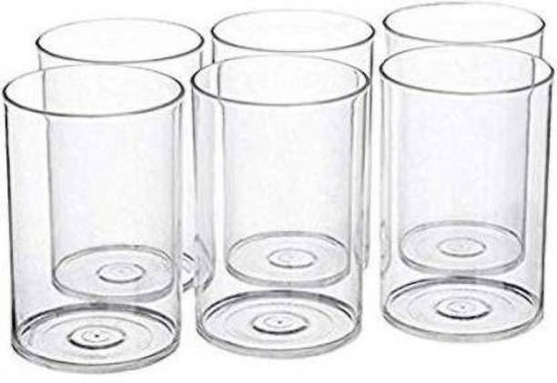 ATMAN (Pack of 6) Unbreakable Stylish Transparent Water Drinking Glass Set 300 Ml Glass Set ABS Poly Carbonate Plastic (Plastic, 300 ml, Clear, Pack of 6) Glass Set