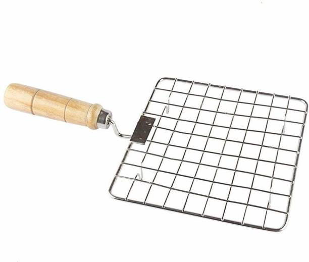 POCHU ENTERPRISE Square Barbeque Jali Roti Roast Grill Papad Roaster Chapati Toast Grill Wooden Handle Silver (6 * 6) 1 kg Roaster