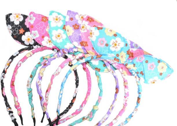 Frolics India Designer Pack of 6 Flower Printed Ear Style Hair Band