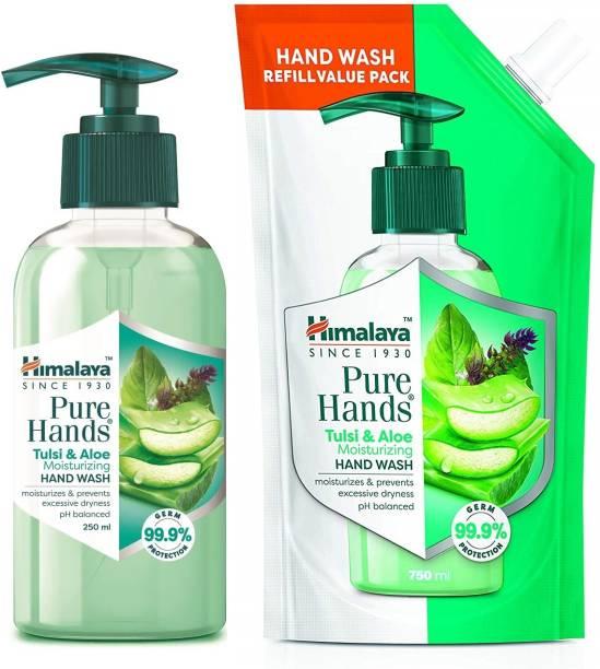 HIMALAYA Pure Hands Moisturizing Tulsi and Aloe Pump 250 ml With Refill 750 ml Hand Wash Pump Dispenser