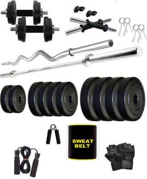 DreamFit 22 kg 22KG-WEIGHT-WITH-Straight-and-curl-rod Home Gym Kit Gym & Fitness Kit Home Gym Combo