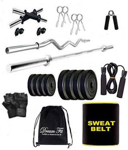 DreamFit 50 kg 50 Kg PVC Plates Home Gym Combo With Sweat Belt and Accessories Home Gym Combo