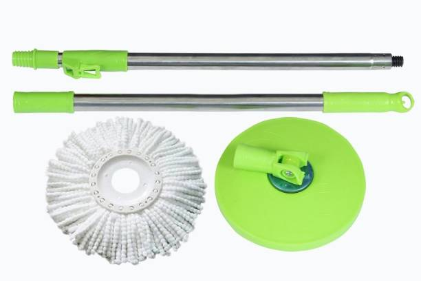 WayMore Mop 360° spin Cleaning stainless steel Rod Set with Mop Refill(01 set) (Green) String Mop