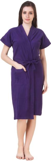 Bombshell Purple Free Size Bath Robe