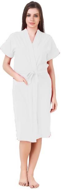 Bombshell White Free Size Bath Robe