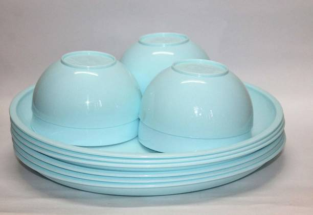 Kanha Microwave Safe and Unbreakable Round Full Plates with Bowl - Pack of 3 Plates and 3 Bowl Set-6 Pieces (Aqua Blue) Dinner Plate
