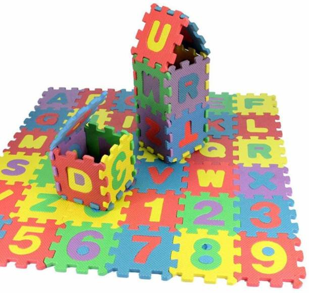 Shop & Shoppee ABC and Numbers Puzzle Mat Non Toxic EVA Foam Alphabet and Number Interlock Puzzle Mat for Kids Learn and Play(Each Pcs – 9 cm X 9 cm)
