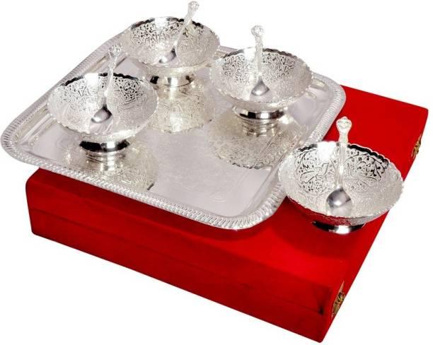Varadaa Pack of 9 Silver Plated Dinner Set