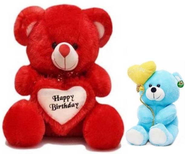 ToyKing 2 Feet Happy Birthday Teddy Bear With 26CM Blue Balloon Teddy Bear  - 60.5 cm