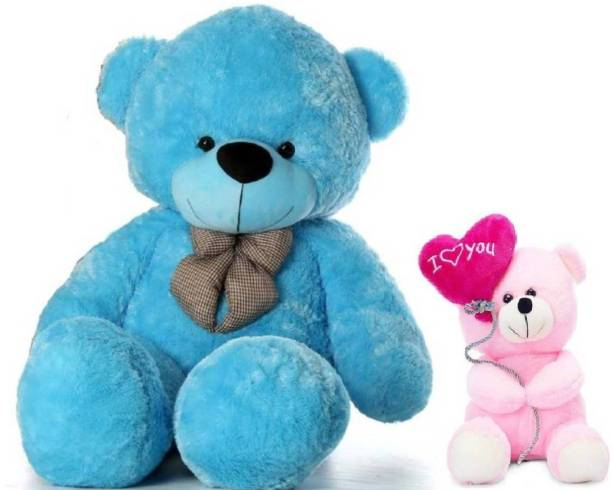 TEDDYIA 3 Feet Cute Blue Teddy Bear & 24Cm Cute Pink I Love You Balloon Teddy Bear  - 91 cm