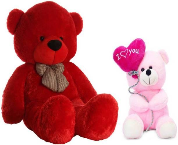 DMGC DMGCOffer 5 Feet Cute LONG Teddy Bear & 24Cm Cute pink ballon - 150 cm(RED)  - 150.00009 cm