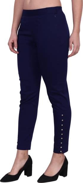 POPWINGS Regular Fit Women Dark Blue Trousers