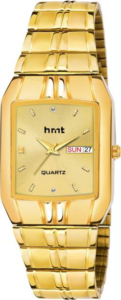 hrnt HM-GG9010 Gold Dial & Strap Day & Date Analog Watch  - For Men