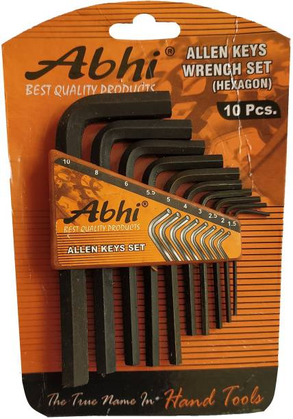 Inditrust 10 Pieces Hex Allen Key Wrench L Shape Repair Tool Set Allen Key Set
